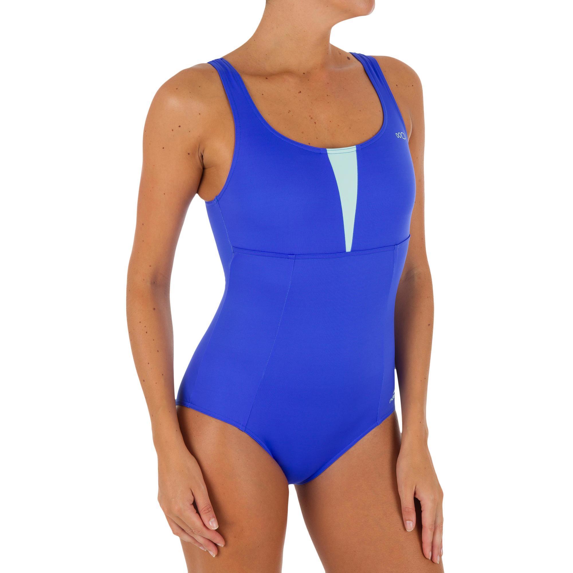 Maillot de bain d 39 aquagym femme une pi ce karol bleu vert for Protege oreille piscine decathlon