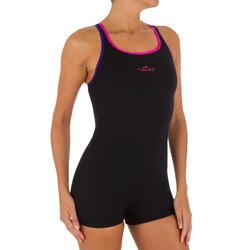 Kamiye Women's Chlorine Resistant One-Piece Shorty Swimsuit - Black