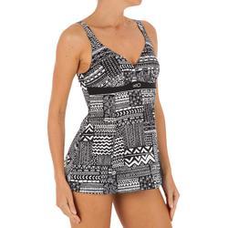 Kaipearl Women's Body-Sculpting One-Piece Skirt Swimsuit – Black