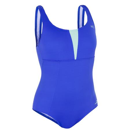 Maillot de bain d 39 aquagym femme une pi ce karol bleu vert - Maillot de bain piscine decathlon ...