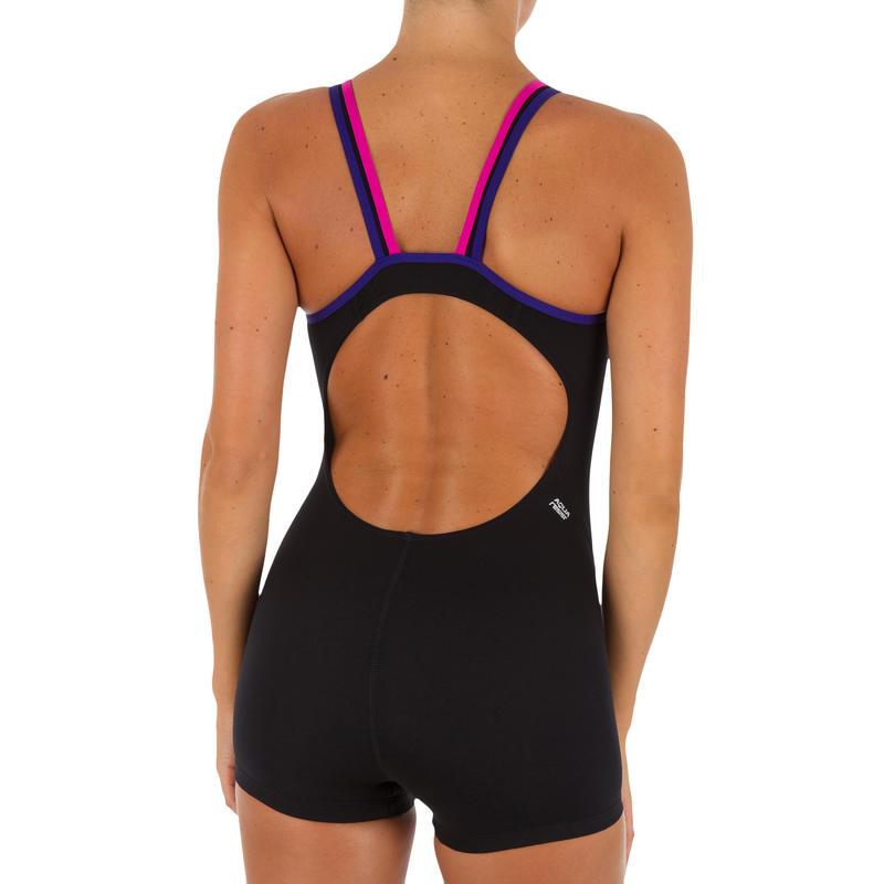 Kamiye Women's Chlorine Resistant One-Piece Shorty Swimsuit Black