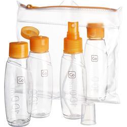 Flaschenset mit 4 Flaschen à 100ml für Flugreisen