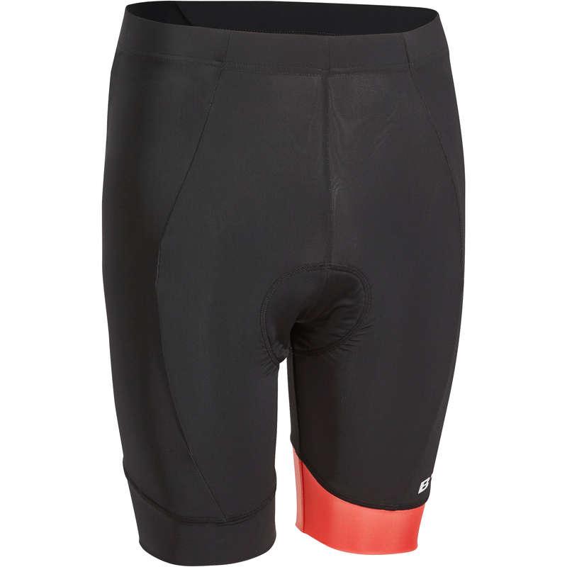 MEN WARM WEATHER ROAD CYCLING APPAREL Cycling - 500 Padded Cycling Shorts - Black/Red TRIBAN - Cycling