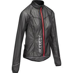 Uiterst lichte fietsregenjas voor dames 900 zwart