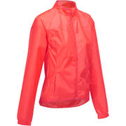 Rožnata ženska kolesarska dežna jakna 100