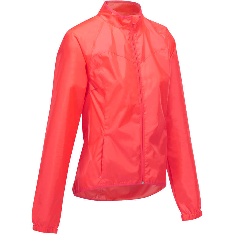 WOMEN WET WEATHER ROAD CYCLING APPAREL Clothing - RC 100 Women's Waterproof Cycling Jacket - Pink TRIBAN - By Sport