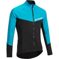 500 Long-Sleeved Road Cycling Cyclotourism Jersey - Black/Blue
