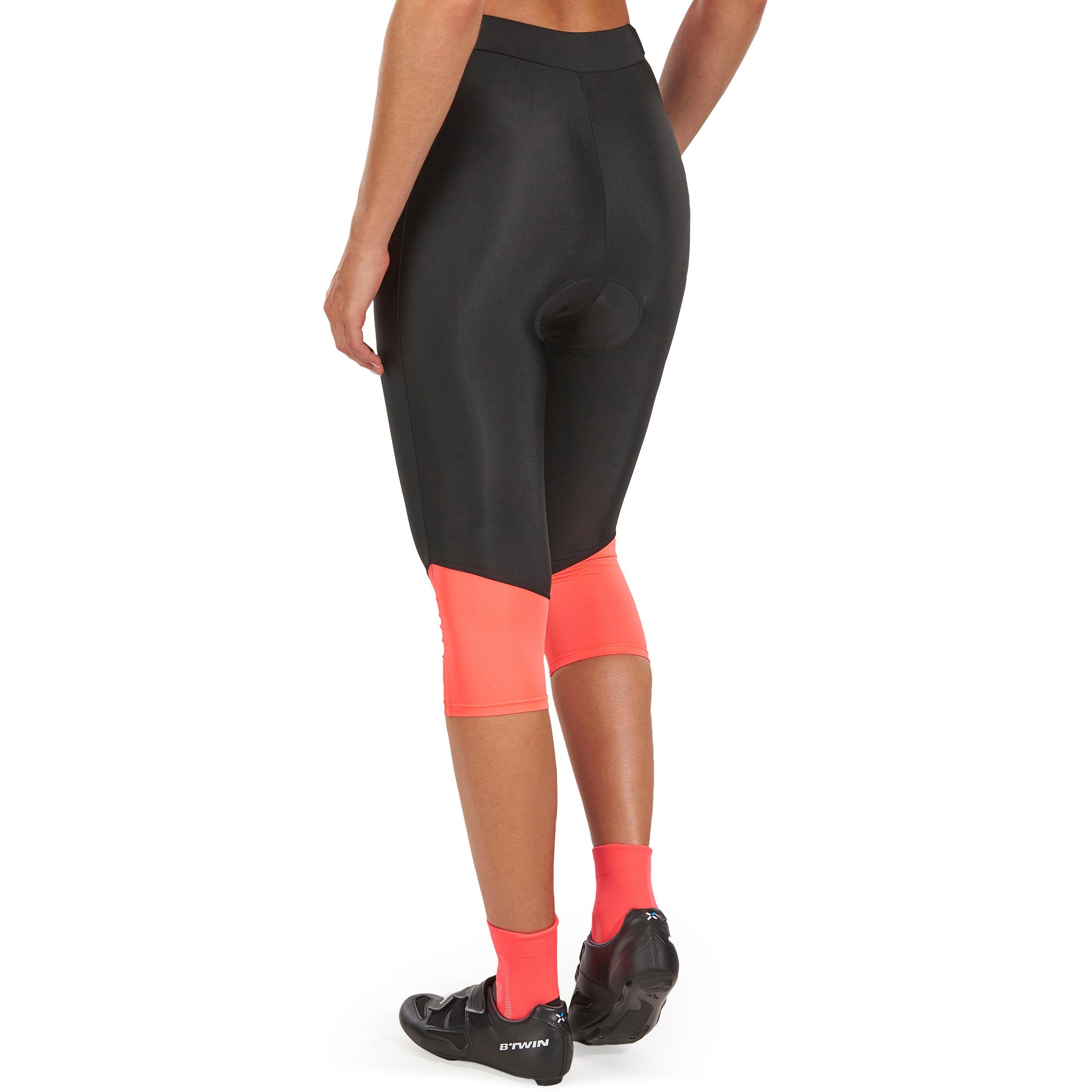 500 Women's Mountain Bike Bibless Cropped Bottoms - Black/Pink