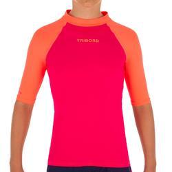 Camiseta anti-UV surf Top 100 manga corta niños Rosa