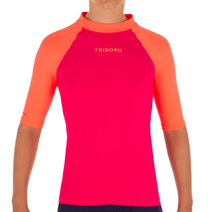 Camiseta anti-UV surf Top 100 manga corta niños Rosa