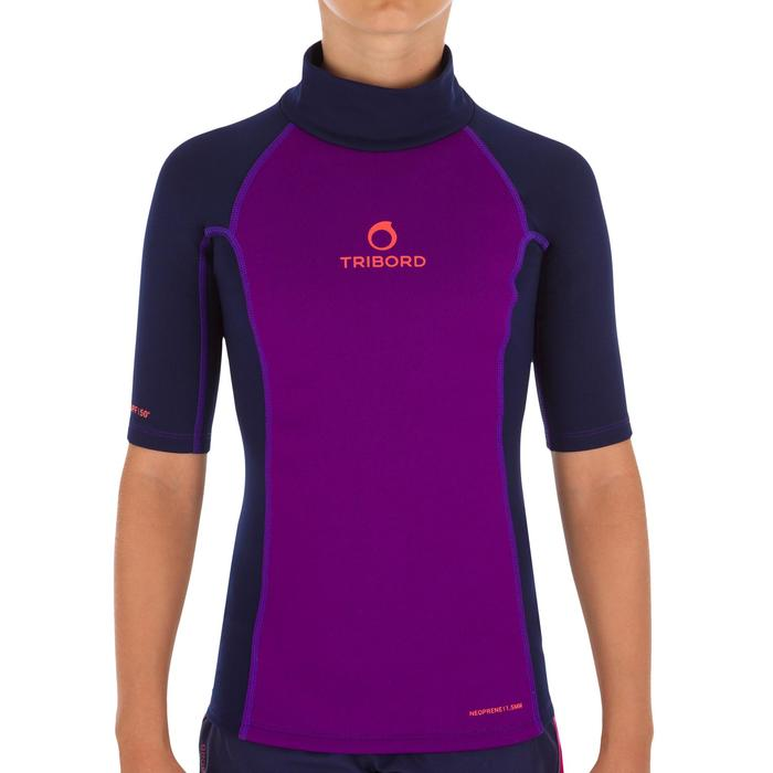 tee shirt anti UV surf top néoprène thermique manches courtes enfant violet