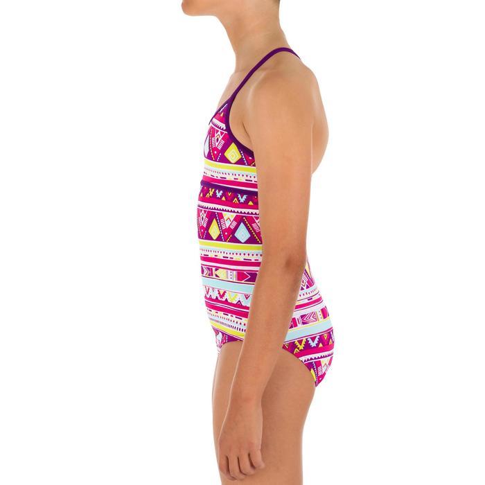 Bañador 1 pieza niña con espalda en X GEO VIOLETA