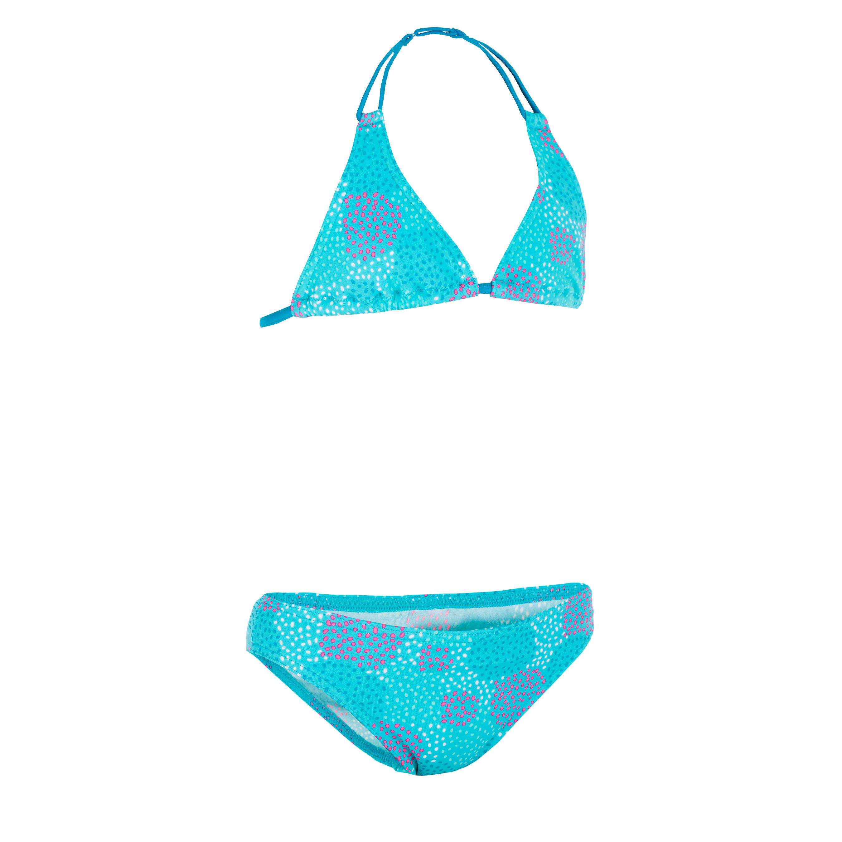 Bikini niña con sujetador triángulo POMPON AZUL