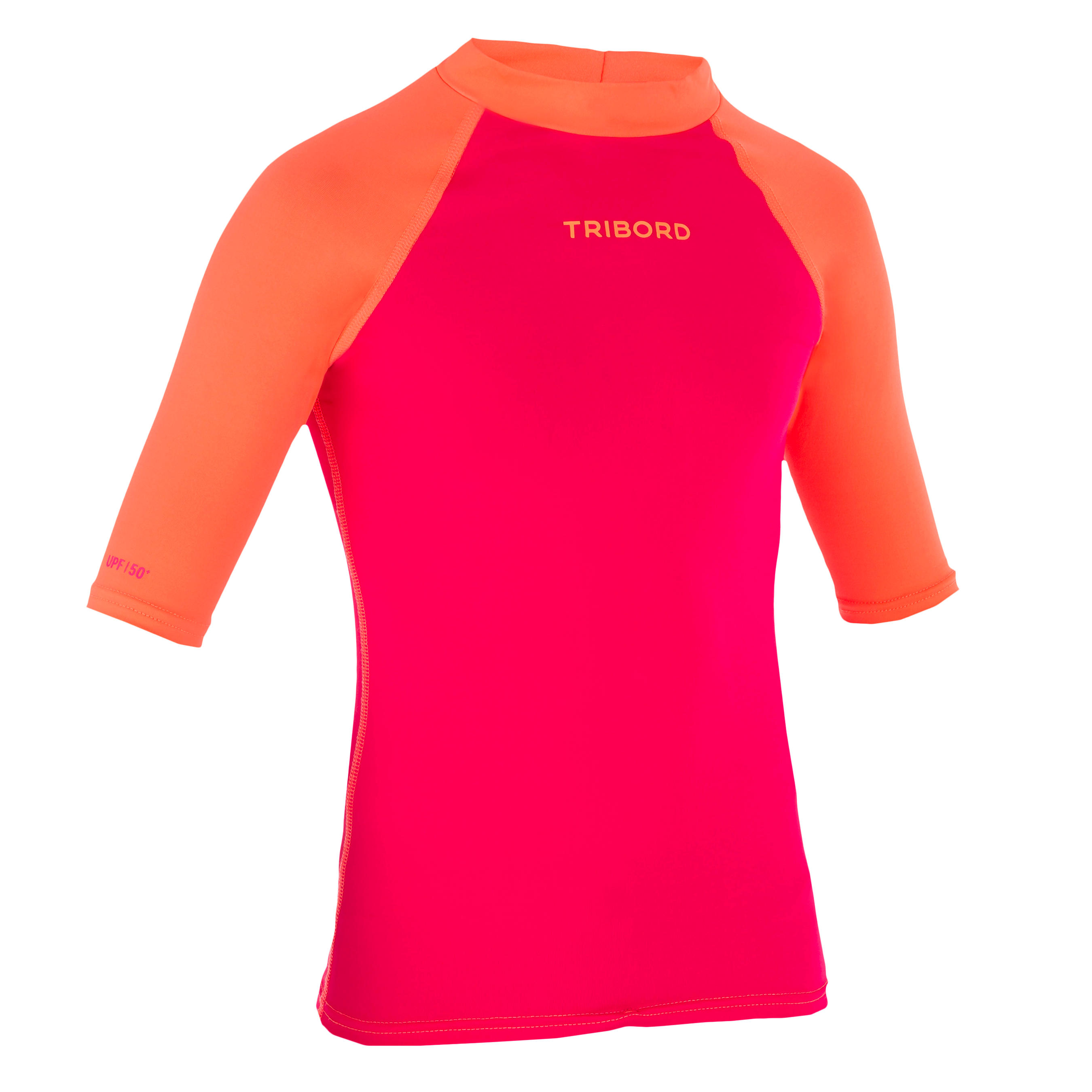 100 Children's Short Sleeve UV Protection Surfing Top T-Shirt - Pink