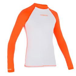 Uv-werende rashguard 100 met lange mouwen voor kinderen wit/oranje