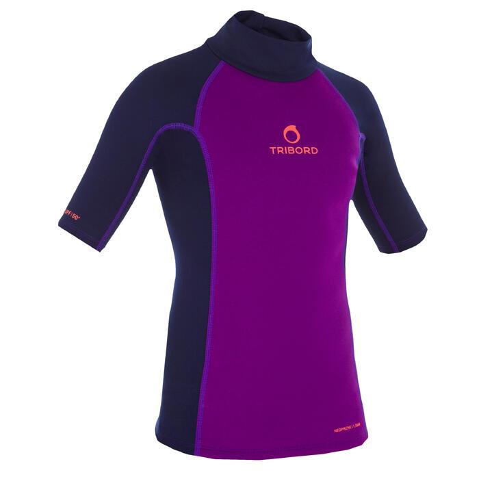tee shirt anti UV surf top néoprène thermique manches courtes enfant - 1087520