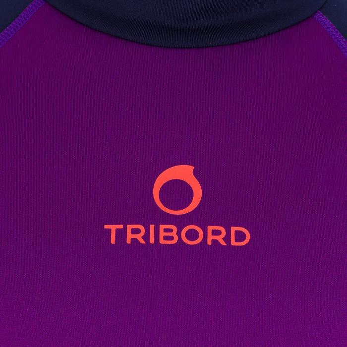 Thermische en uv-werende rashguard met korte mouwen voor kinderen paars