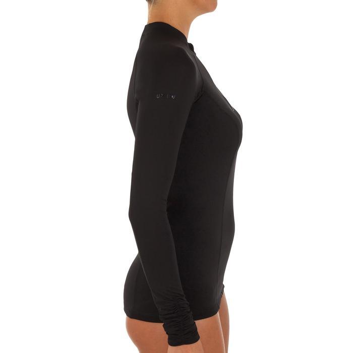 0b904361af93c Camiseta Anti-UV surf top 500 mangas largas cremallera mujer negro ...
