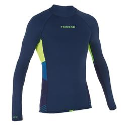 500 Men's Long Sleeve UV Protection Surfing Top T-Shirt - Blue Stripes