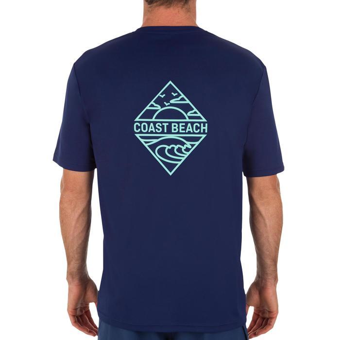 Uv-werend zwemshirt met korte mouwen voor heren, voor surfen, marineblauw