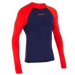 Uv-werende rashguard 100 met lange mouwen voor heren, voor surfen, blauw/oranje