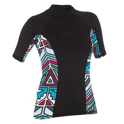 500 Women's Short Sleeve UV Protection Surfing Top T-Shirt - Black Print