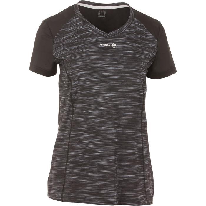 Tennis T-shirt voor dames Soft grijs zwart 500