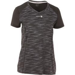 Tennis T-Shirt Soft 500 Damen grau / schwarz
