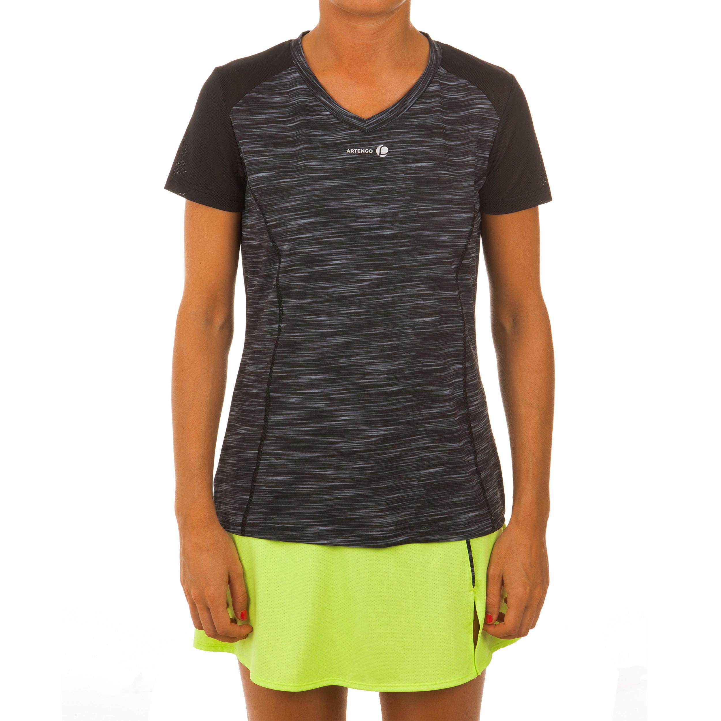 Women's Tennis T-Shirt - Soft 500 Grey/Black