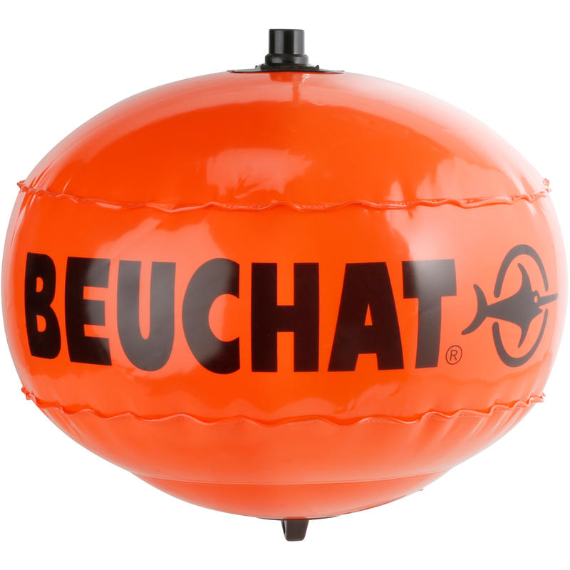 Inflatable, round spearfishing surface marker buoy
