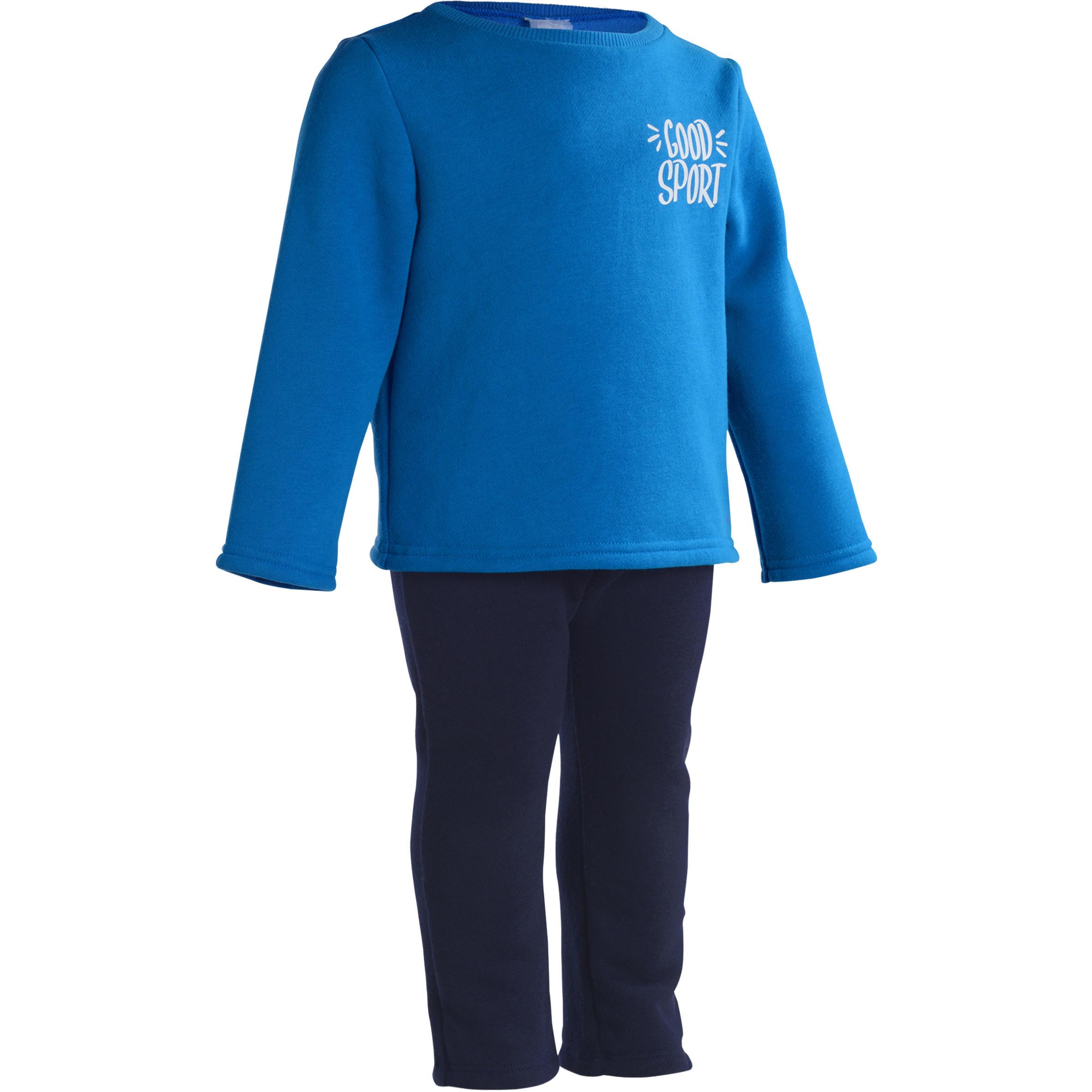 Traje cálido estampado gimnasia infantil azul Warm'y