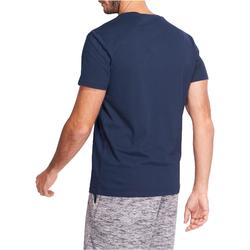 Heren T-shirt Sportee 100 regular Gym Stretching 100% katoen marineblauw