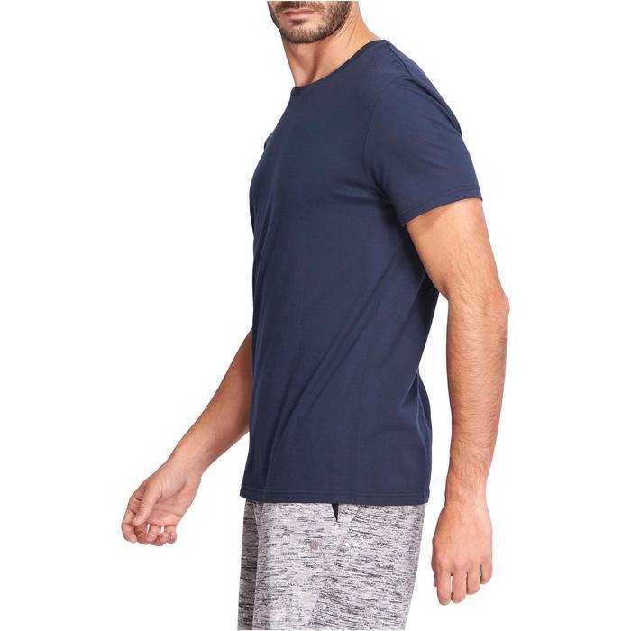 4ea0ae52e Camiseta Manga Corta Gym Pilates Domyos 100 Regular 100% Algodón Hombre Azul