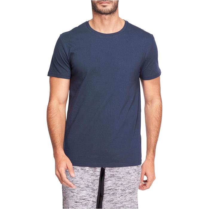 T-Shirt Sportee 100 regular Gym Stretching 100% coton homme bleu marine