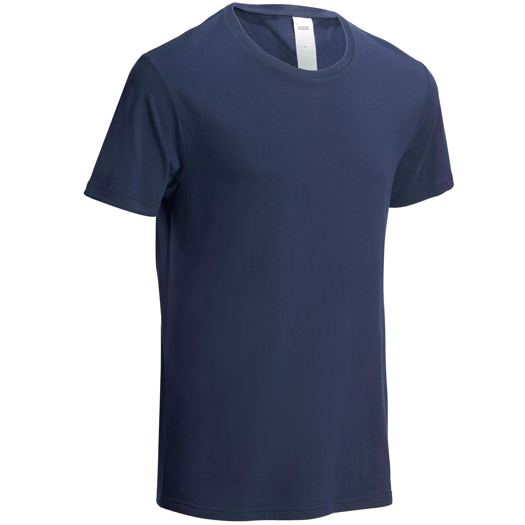 Domyos Heren T-shirt Sportee 100 voor gym en stretching regular fit 100% katoen