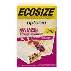Voordeelverpakking omhulde graanrepen witte chocolade aardbei cranberry 10x 32 g