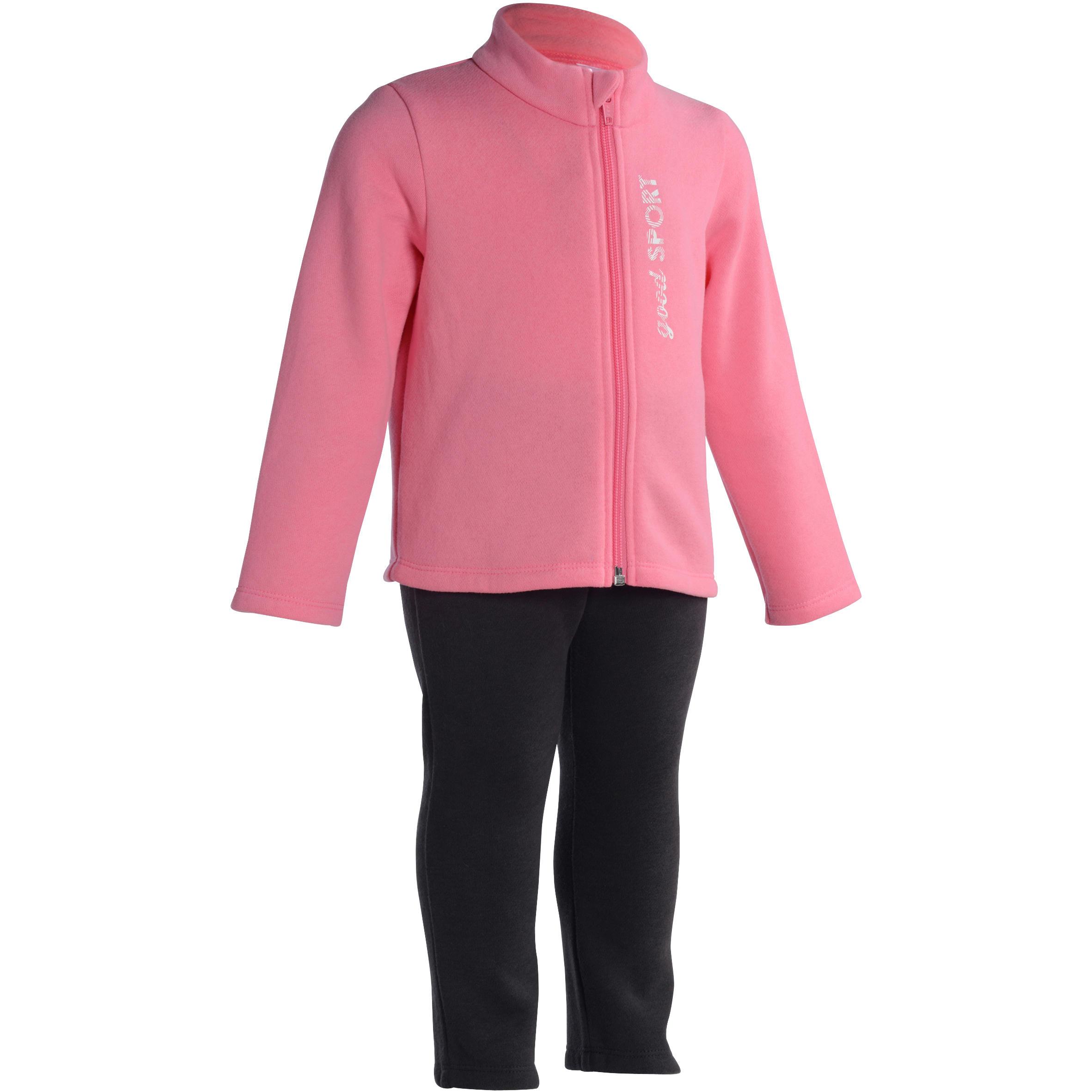 Traje con cierre y estampado para gimnasia infantil rosa Warm'y Zip