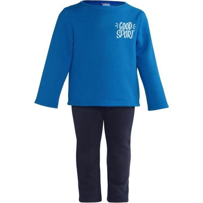 Joggingpak 100 voor kleutergym Warm'y blauw met opdruk