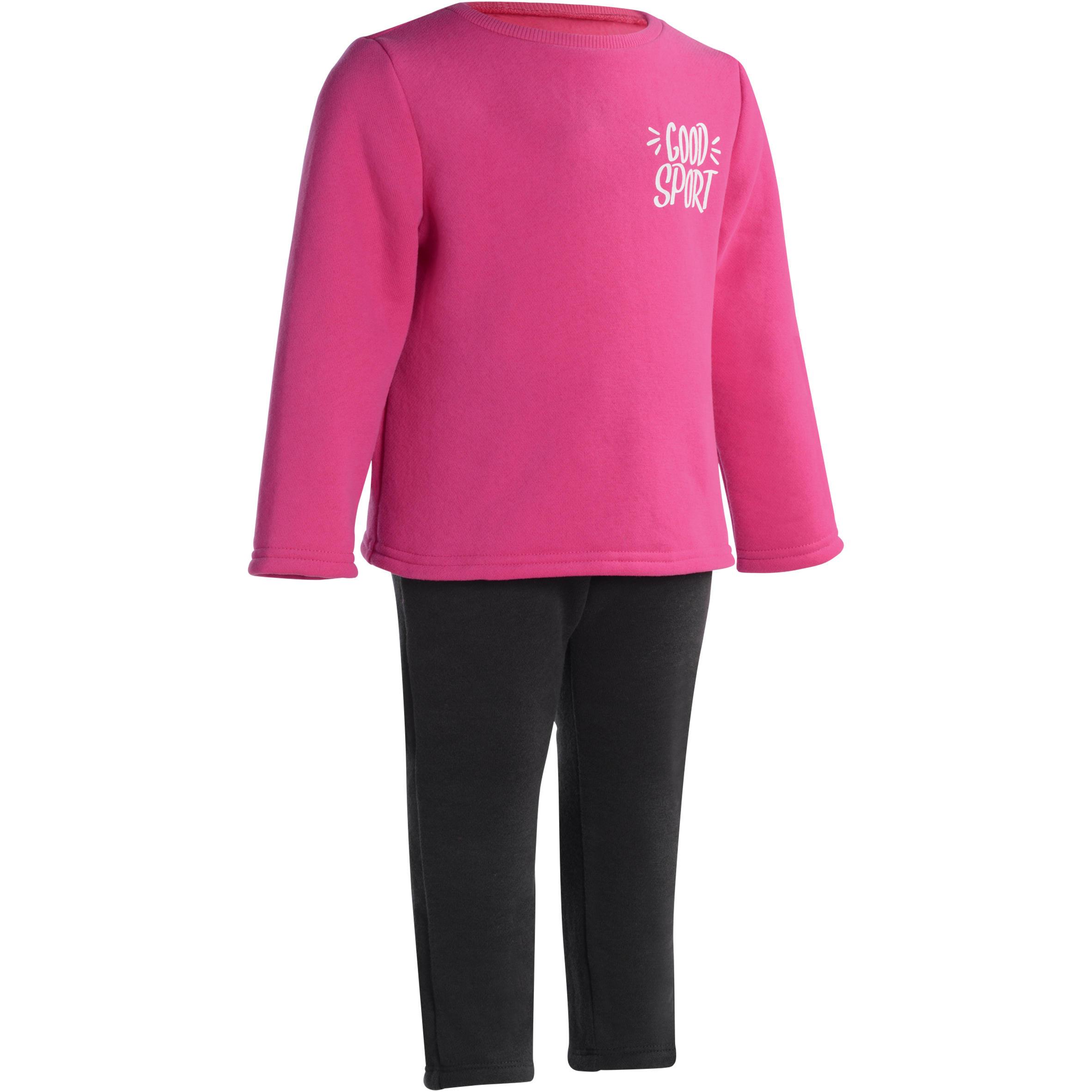 Traje cálido estampado de gimnasia infantil rosa Warm'y