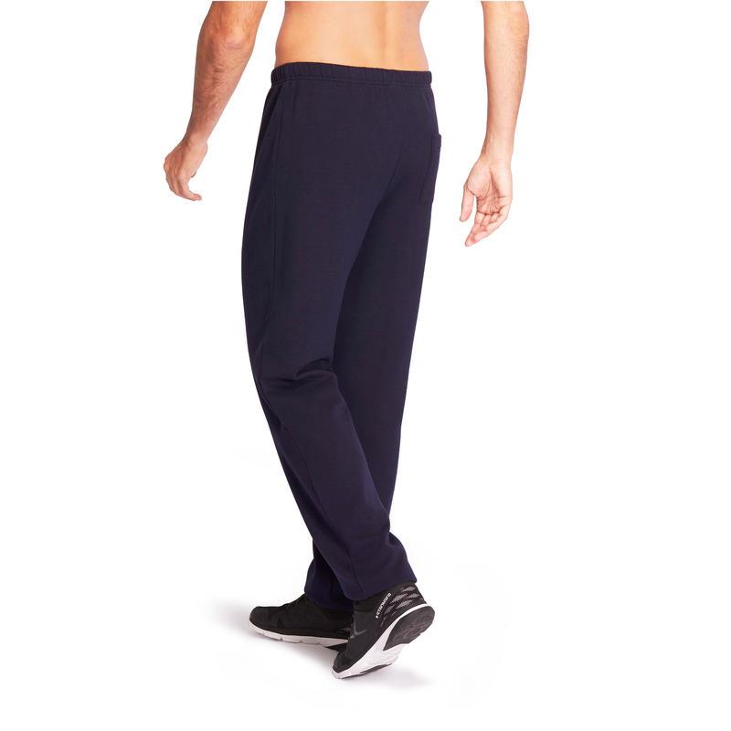 Pantalon jogging homme 900 coupe droite bleu marine