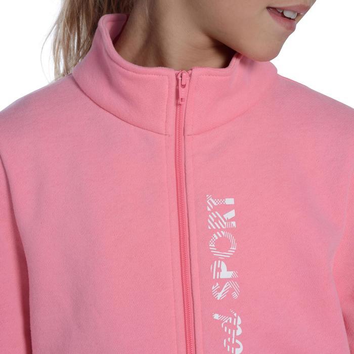 Trainingspak 120 Gym, voor meisjes, roze met opdruk, Warm'y Zip