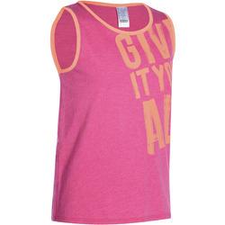Gym top voor meisjes roze met print
