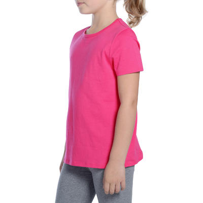 T-Shirt manches courtes 100 Gym Fille rose