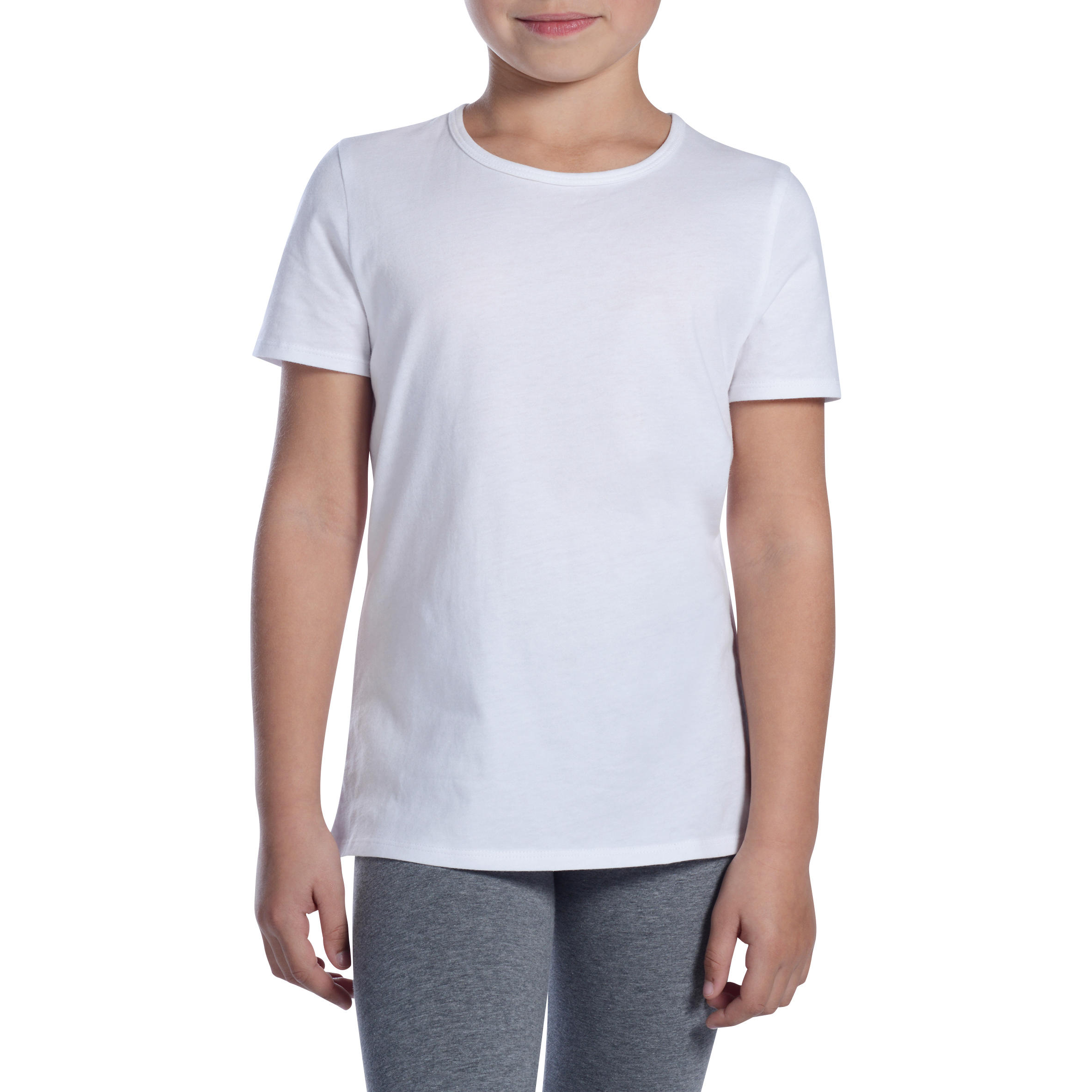 Girl's Short Sleeve Gym T-Shirt 100- White