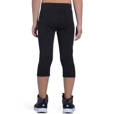 100 Girls' Gym Cropped Bottoms - Black