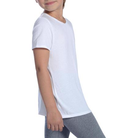 100 T-Shirt Gym Lengan Pendek Anak Perempuan - Putih