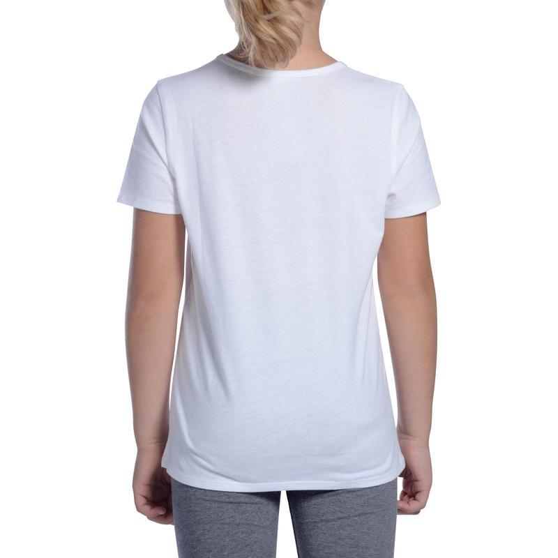 Girls' Short-Sleeved Gym T-Shirt 100 - White