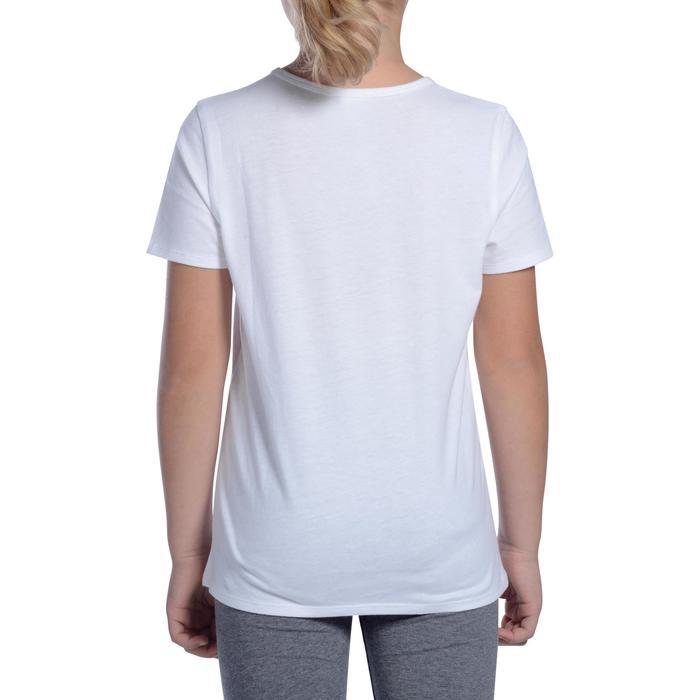 venta reino unido Excelente calidad diseños atractivos Camiseta Manga Corta Deportiva Gimnasia Domyos 100 Niña Blanco