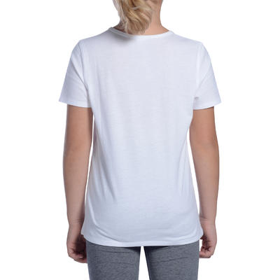 T-Shirt manches courtes 100 Gym fille blanc