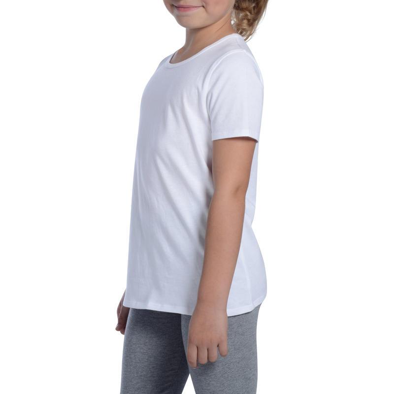 Camiseta de manga corta 100 niña GIMNASIA NIÑOS blanca